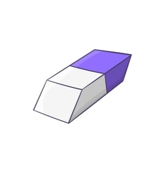 Blue and white rubber pencil eraser icon vector image