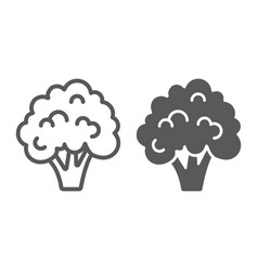 Broccoli line and glyph icon vegetable vector