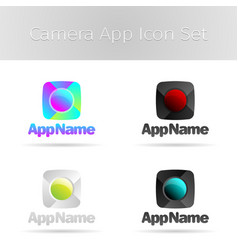Camera app icon set vector