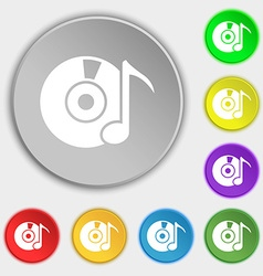 CD or DVD icon sign Symbols on eight flat buttons vector image