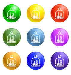 chemistry glass flask icons set vector image