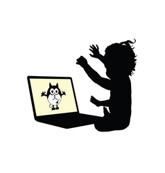 Child on laptop silhouette vector