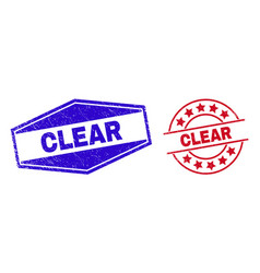 Clear unclean stamps in circle and hexagon shapes vector