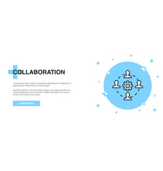 collaboration icon banner outline template vector image