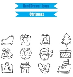Collection stock Christmas icon set on white vector