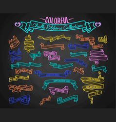 colorful chalk ribbons collection hand draw on vector image