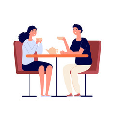 couple on dating man woman drink tea and vector image