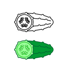 cucumber simple line style icon black and color vector image