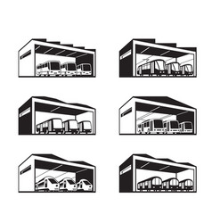 Depot for various types of public transport vector