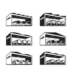 Depot for various types public transport vector