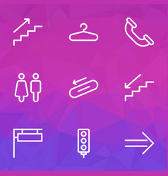 direction icons line style set with hanger steps vector image