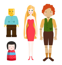 dolls toy character game dress and farm scarecrow vector image