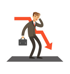 Failed businessman and red graph going down vector