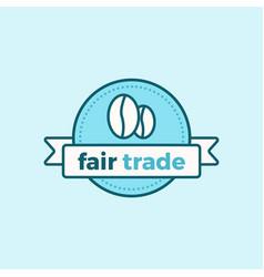 Fair trade icon coffee beans vector