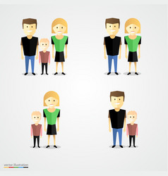 Family colorful cartoot icon set vector