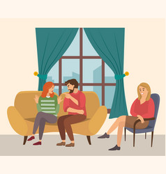Family relationship problems conversation between vector