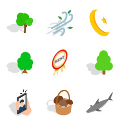 feral icons set isometric style vector image