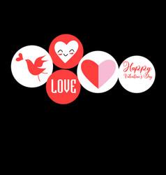 festive set hearts and inscriptions vector image