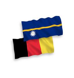 Flags belgium and republic nauru on a white vector