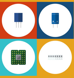 Flat icon electronics set of transistor unit vector