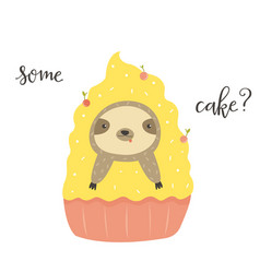 funny cute sloth in cake sweet lover vector image