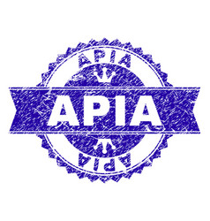 Grunge textured apia stamp seal with ribbon vector