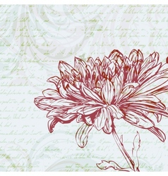 Grungy retro background with chrysanthemum flower vector
