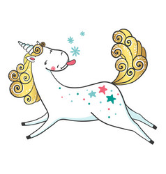 hand drawn cute unicorn and snowflakes vector image