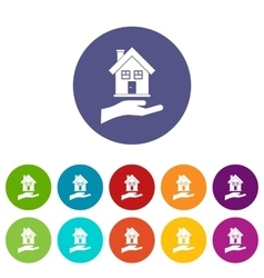 Hand holding house set icons vector image