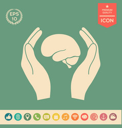 hands holding brain - protection icon vector image