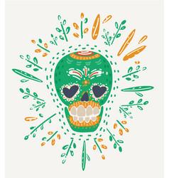 hipster day dead skull vector image