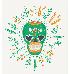 hipster day of the dead skull vector image