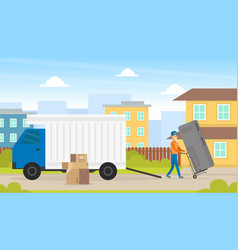 Home appliance delivery male courier delivering vector