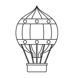 hot air balloon with gondola basket icon vector image