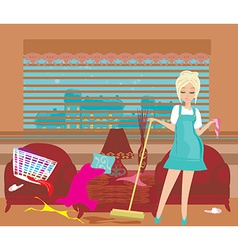 Housewife cleans up the mess vector