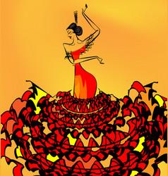 Image of flamenco dancer girl vector