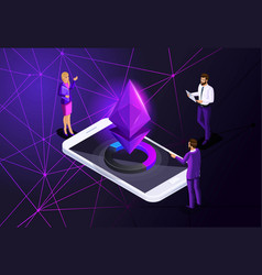 isometric ethereum crisis concept with ether symb vector image