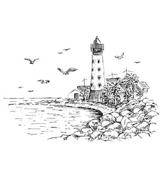 Landscape sketch of the lighthouse and the sea vector