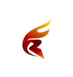letter r fire vector image