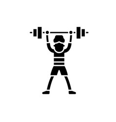 lift barbell black icon sign on isolated vector image