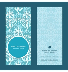 Light blue swirls damask vertical round vector