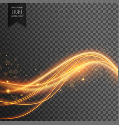 Light effect of golden waves with sparkles vector