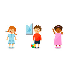 Little kids expressing different emotions vector