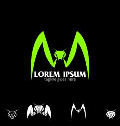 m letter based mantis symbol vector image