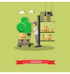 Man load parcels Logistic and delivery service vector image