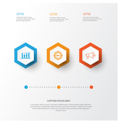 Marketing icons set collection media campaign vector