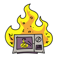 Microwave oven on fire cartoon hand drawn image vector