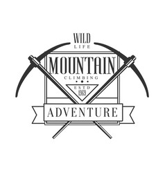 mountain climbing adventure wild life logo vector image vector image