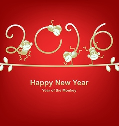New Year 2016 greeting year of the monkey vector image