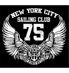 New york city sailing club art vector